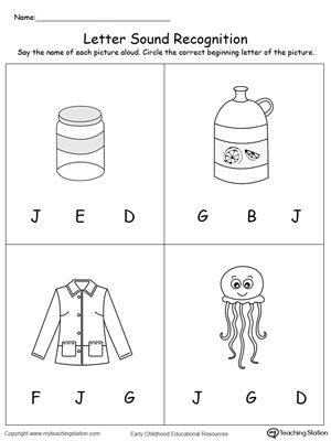 Recognize The Sound Of The Letter J Worksheets Pinterest
