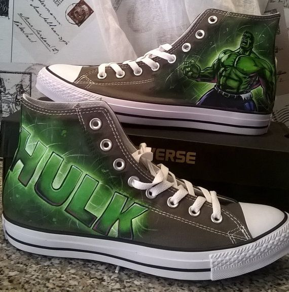 0086c8f75296 the Hulk custom hand painted Converse by christinaPcreations