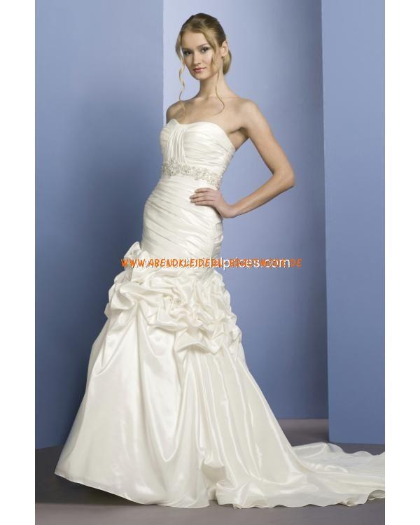 Romantische Brautkleider günstig aus Taft A-Linie mit Schleppe mit Blumen