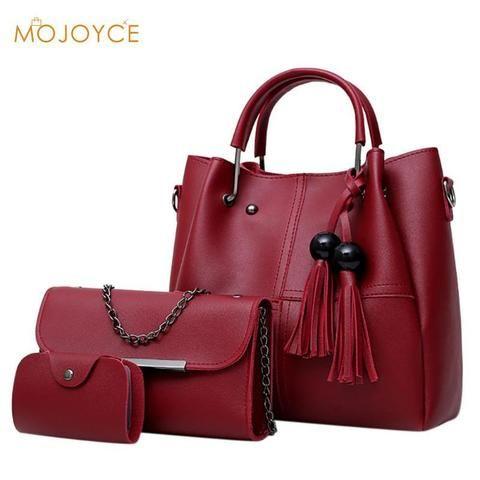 50fc53e2dcae 3pcs set Tassels Composite Bags Women Handbag+Shoulder Bag +Card Bag Ladies  Chain Crossbody Bags Girl Soild PU Leather Tote Set