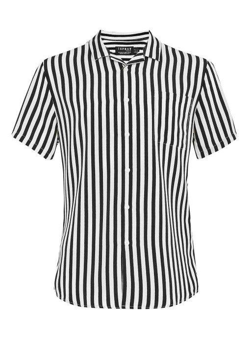 4994b5b0886462 Topman short sleeve black and white vertical shirt | Shops in 2019 ...
