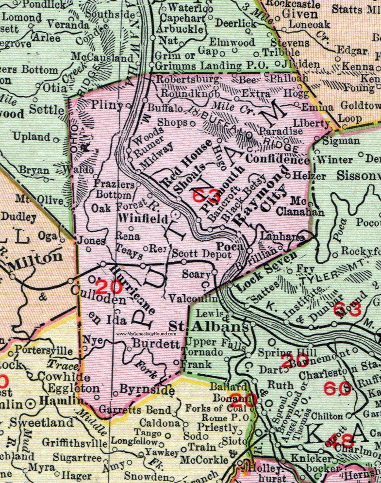 Putnam County West Virginia 1911 Map Winfield Hurricane