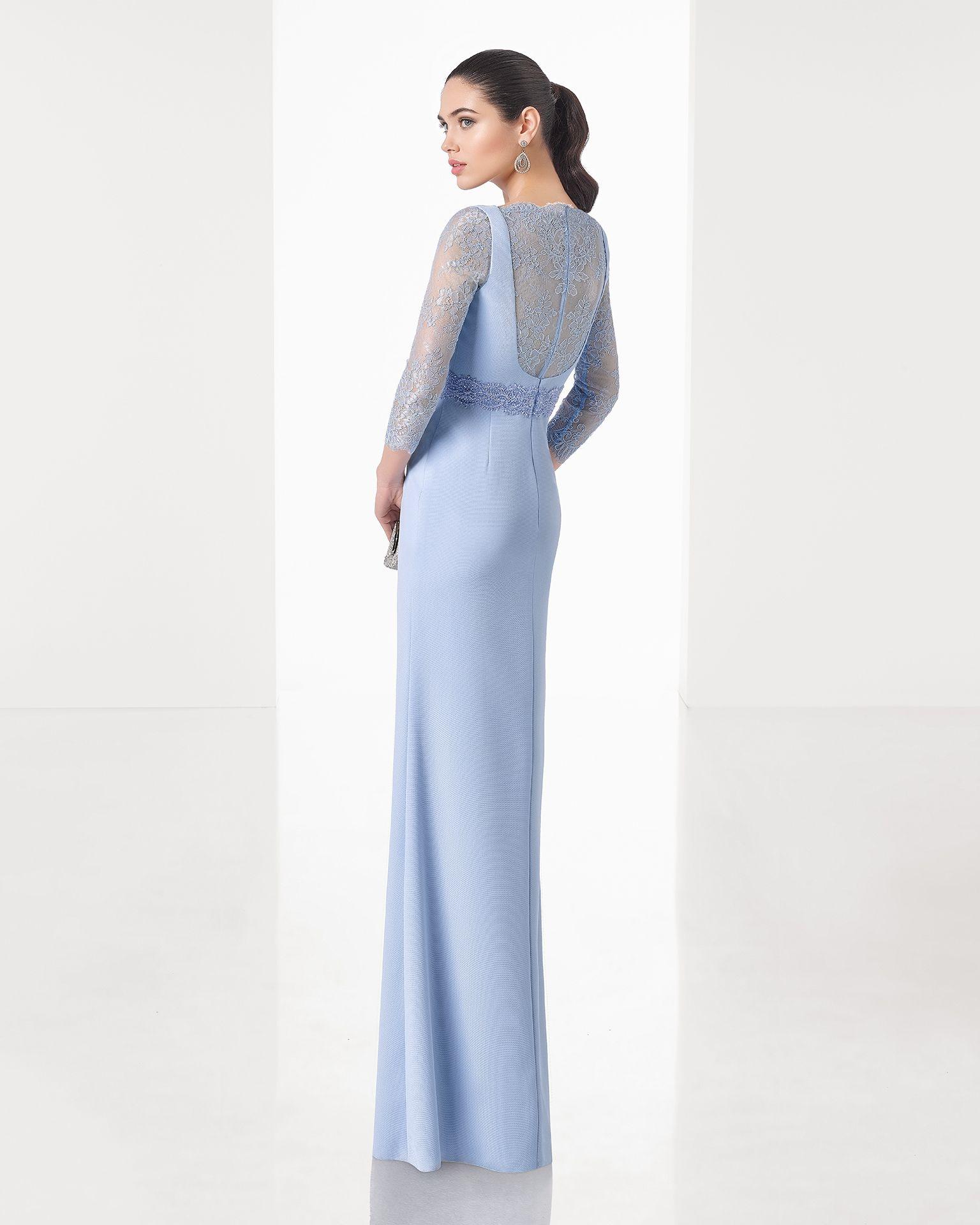 3aef0a021 Vestido de fiesta largo clásico de costura de sarga con espalda y manga  francesa de encaje con pedrería