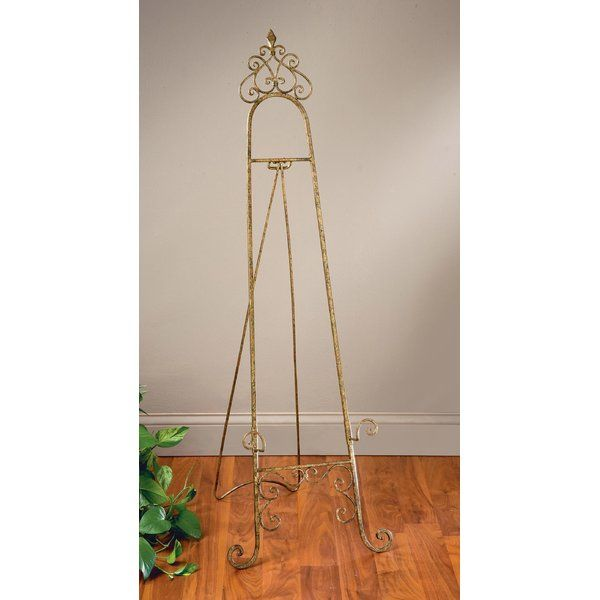 Large Tall Antique Silver Metal Folding Wedding Party Art Picture Canvas Easel