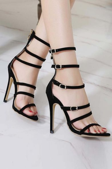 d766a9191926 Summer New Stylish Cutout Bandage Multi-Buttons Stiletto High-Heeled Sandal