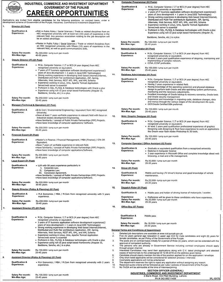 Jobs in Govt. of Punjab (Industries, Commerce and Investment Department)