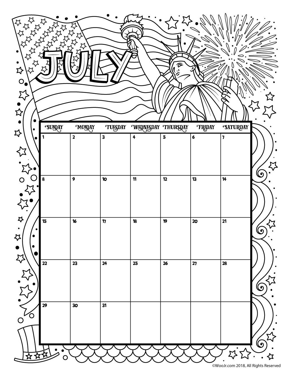 July 2018 Coloring Calendar Page | Products I Love | Pinterest ...