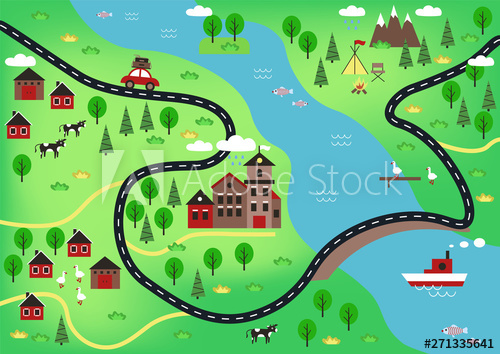 Top View Or Bird S Eye View Or Village Plan With Buildings Mill Structures Roads Bridge Cars Forest Trees Ani Cartoon Map Pet Birds Vector Illustration