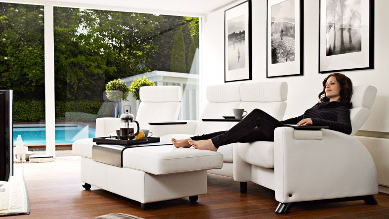 Stressless Home Theater Arion W Sector Arm Double Ottoman