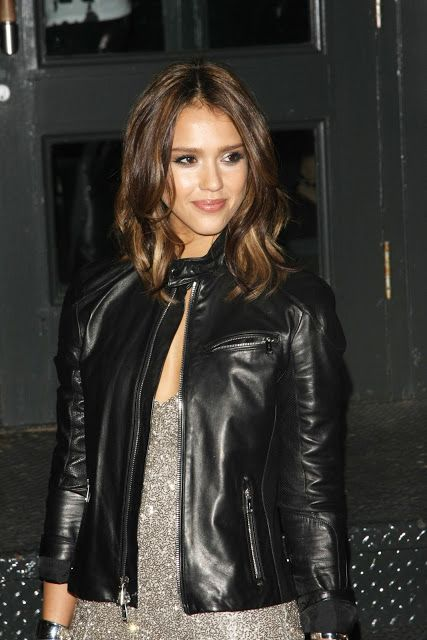 3de5746b75 Jessica Alba Stylish Black Leather Jacket For Women in 2019 ...