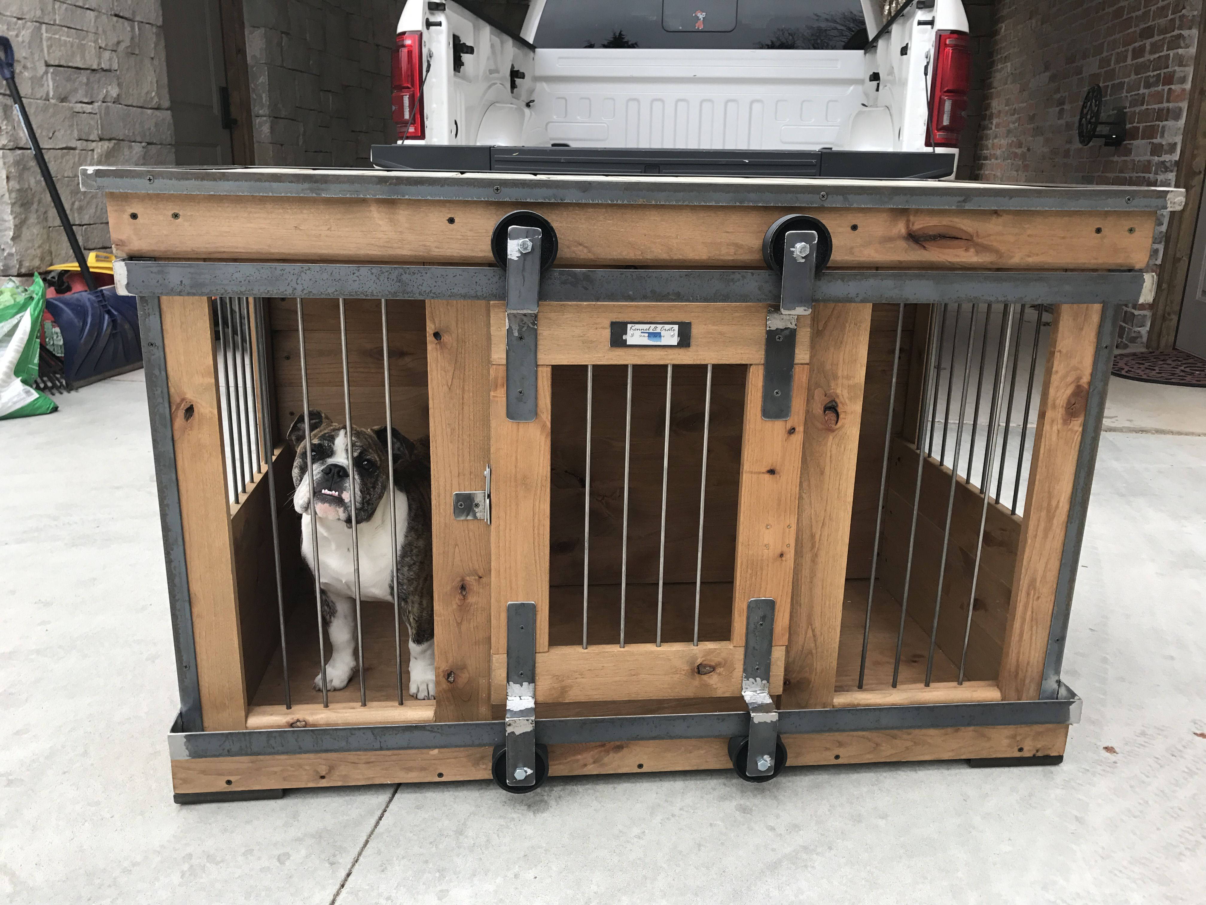 Farmhouse Style Single Dog Kennel By Kennel And Crate Barn Door Rollin Door That Can Remain Wide Opened For Luxury Dog Kennels Dog Kennel Wooden Dog Kennels