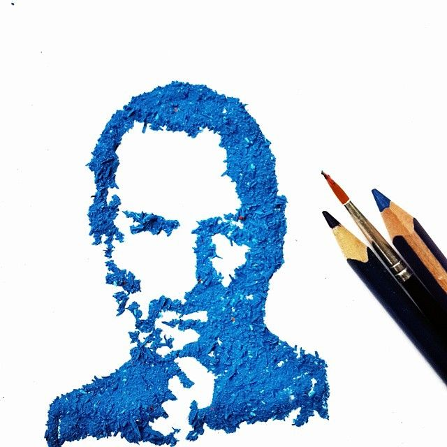 Steve Jobs Pencil Shaving Art by Meghan Maconochie on Instagram
