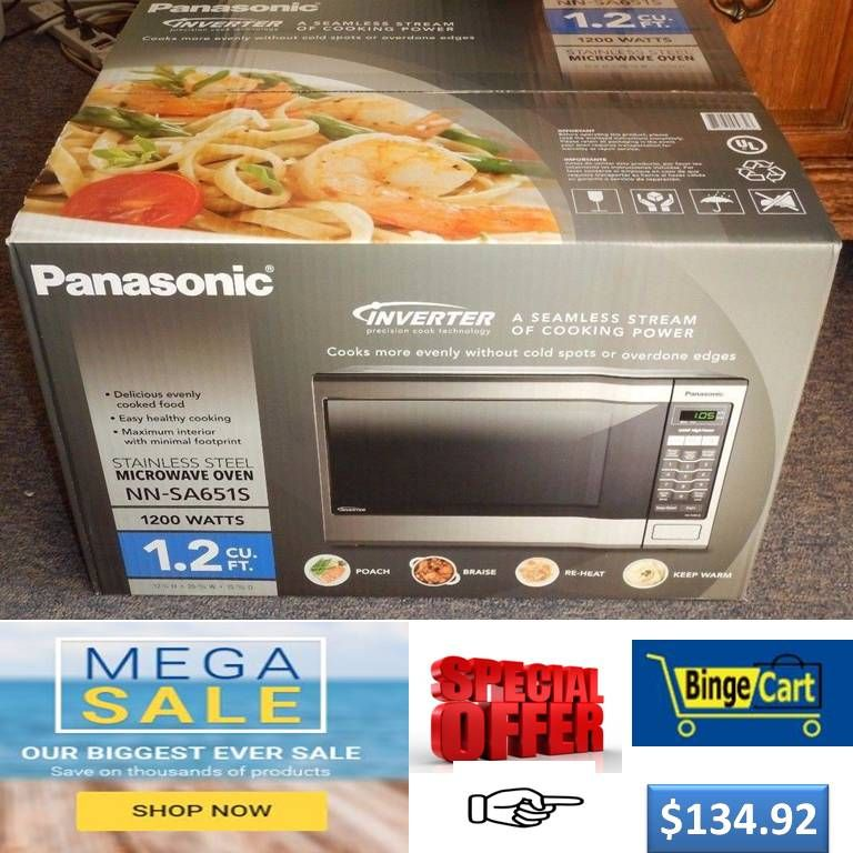 Panasonic 1200 Watts Sensor Cook Silver Stainless 1 2 Cu Ft