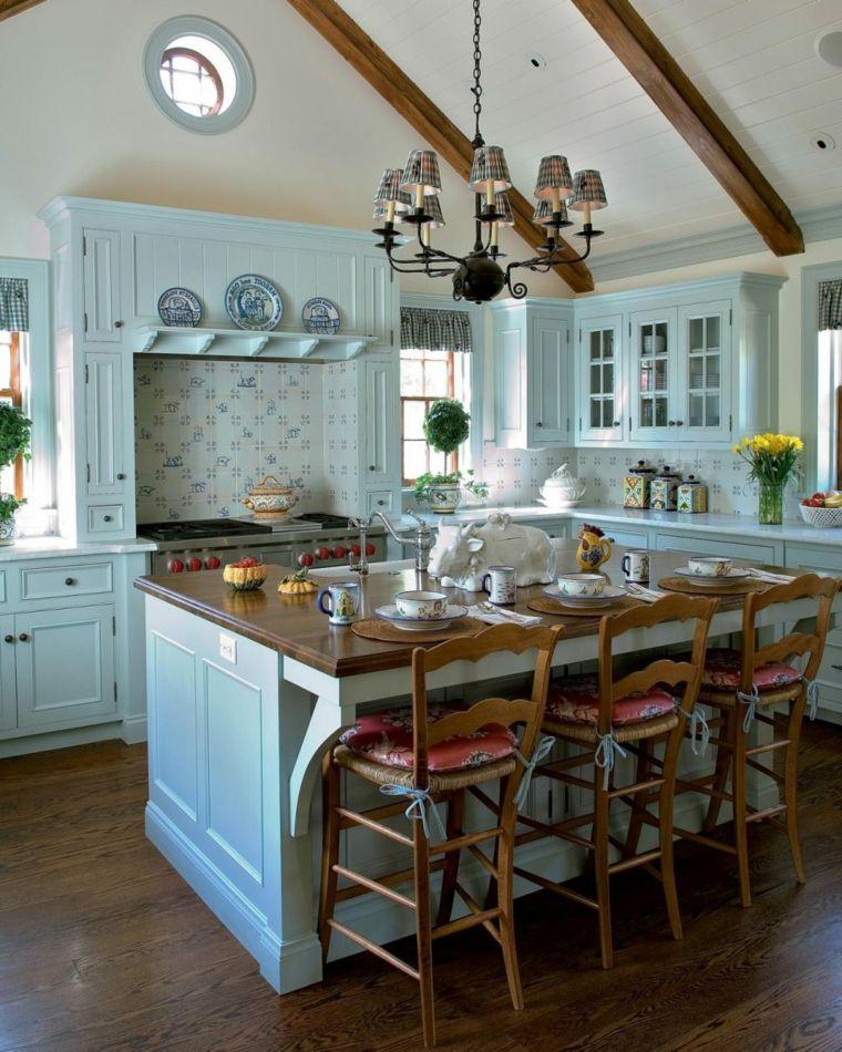 bellissima proposta di cucina shabby con mobili azzurro pastello ...