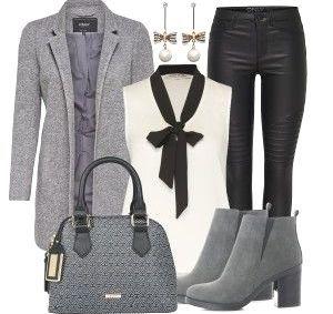 Dein Lieblingslook für einen Tag auf der Arbeit. Mit diesem Business Outfit bist du schick und stylisch zugleich gekleidet. Die zauberhafte Bluse mit schwarzer Schleife wird mit einem Longblazer von Only und einer Jeans in Lederoptik kombiniert. Die Stiefeletten greifen den Grauton des Blazers auf und die Ohrringe passen ideal zur Bluse.Noch weitere inspirierende Outfitkombinationen findest duunterOutfits & Styles | cakerecipespins.club