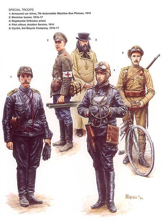 Various uniforms of the Russian army in WWI from Osprey's Men at