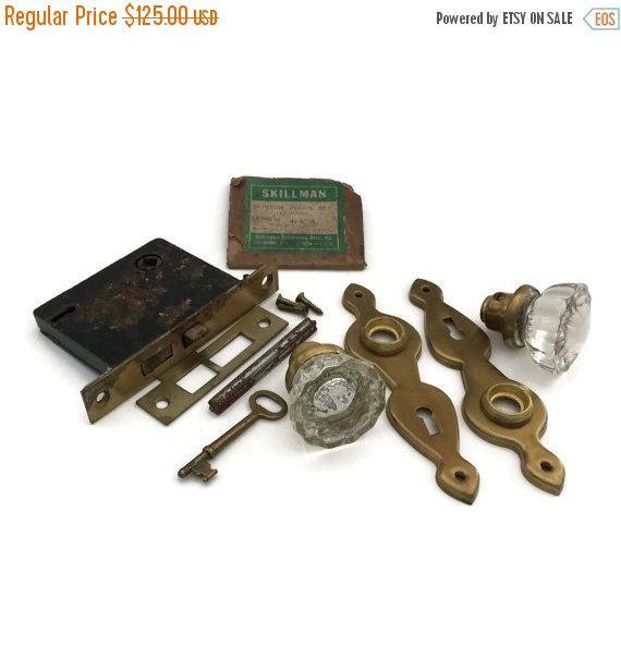 SALE Antique Door Hardware Crystal Door by TreasuresFoundShoppe - SALE Antique Door Hardware Crystal Door By TreasuresFoundShoppe