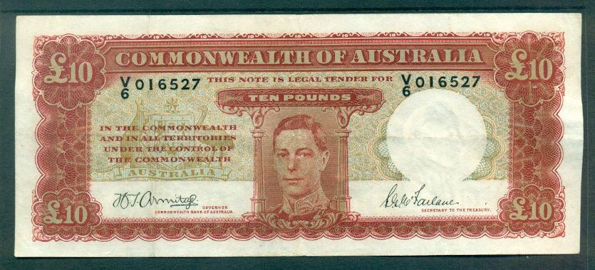 AUSTRALIA £10 R59 1952 ARMITAGE MCFARLANE RESERVE BANK EXTRA FINE