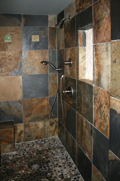 A Wonderful Slate Bathroom With The Pebbled Floor I So Want Now Have To Figure Out How Make It Work In My 100 Year Old House