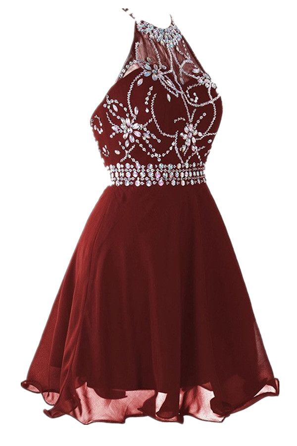 14096fdf568 Cute Halter Short Backless Chiffon Burgundy Homecoming Party Dress with  Beading