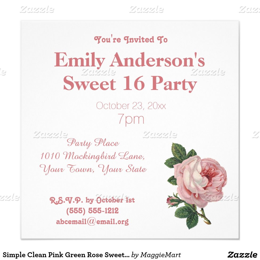 Simple Clean Pink Green Rose Sweet 16 Birthday Invitation