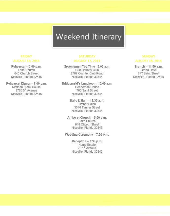 Yellow Stripe Wedding Itinerary Template Download template on - wedding weekend itinerary template