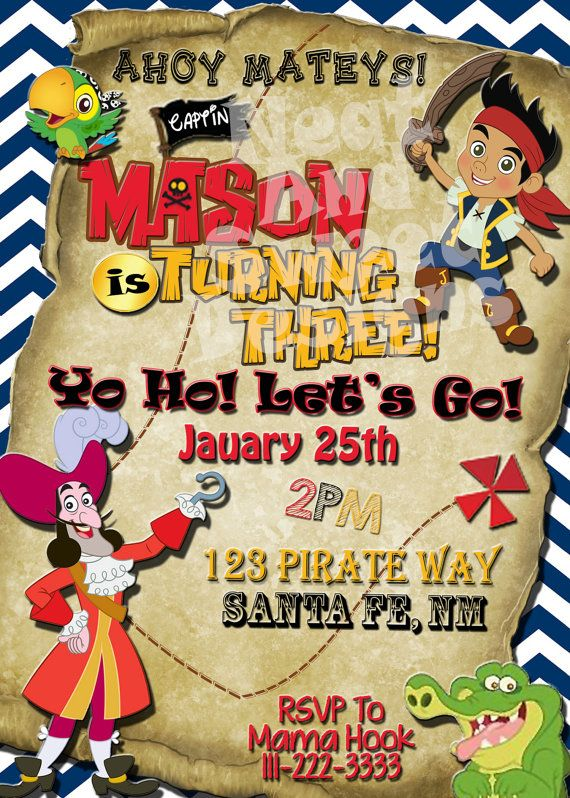5 X 7 Printable Jake And The Neverland Pirates Birthday Invitation - Pirate Invitation - Caption Hook Birthday Invitation - Pirate Party #jakeandtheneverlandpirates #partyinvitations