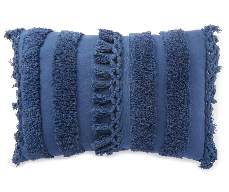Best Navy Blue Fringe Lumbar Throw Pillow In 2020 Lumbar 400 x 300