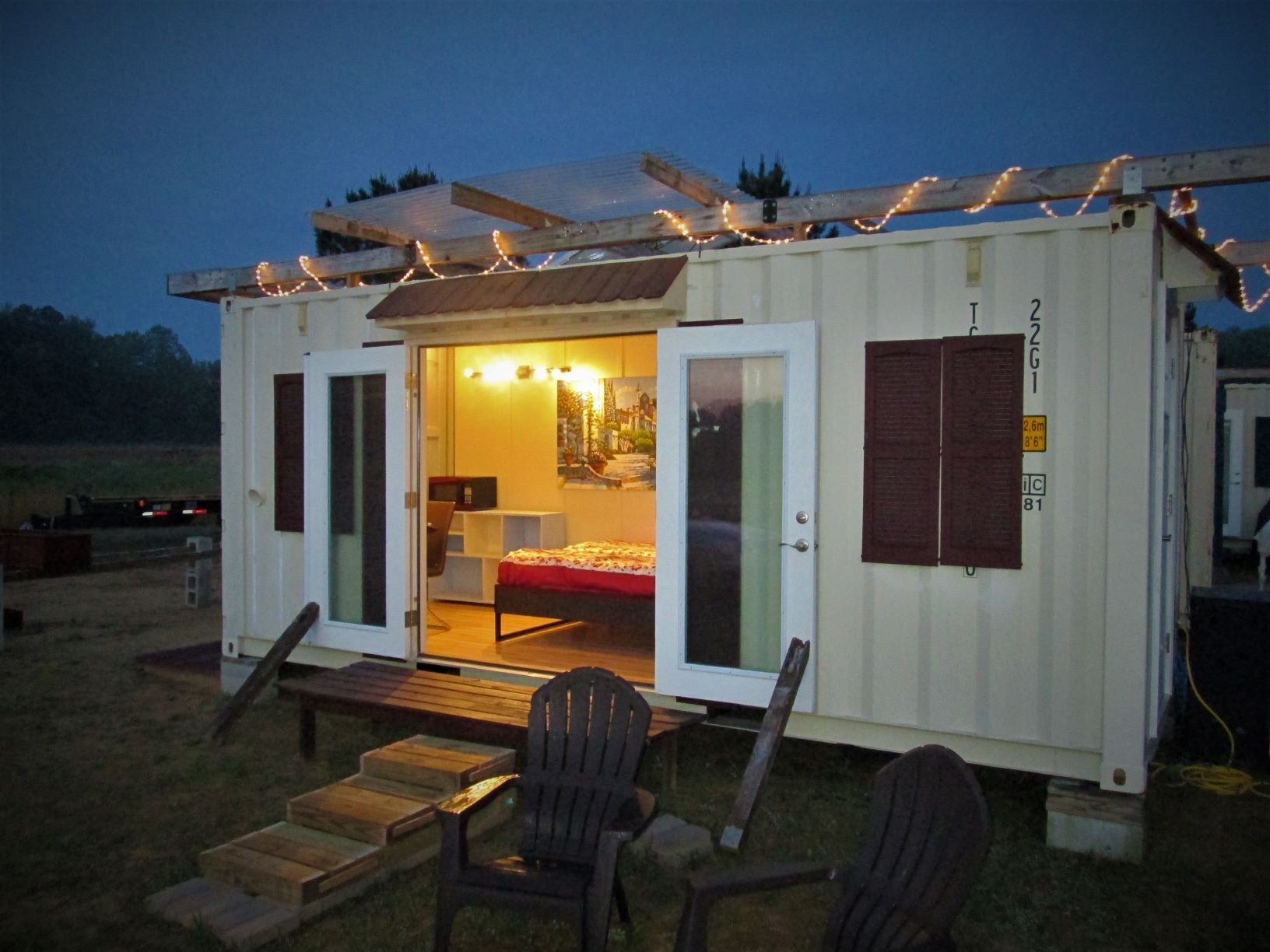 French door open ready for the sunrise tiny house cabin