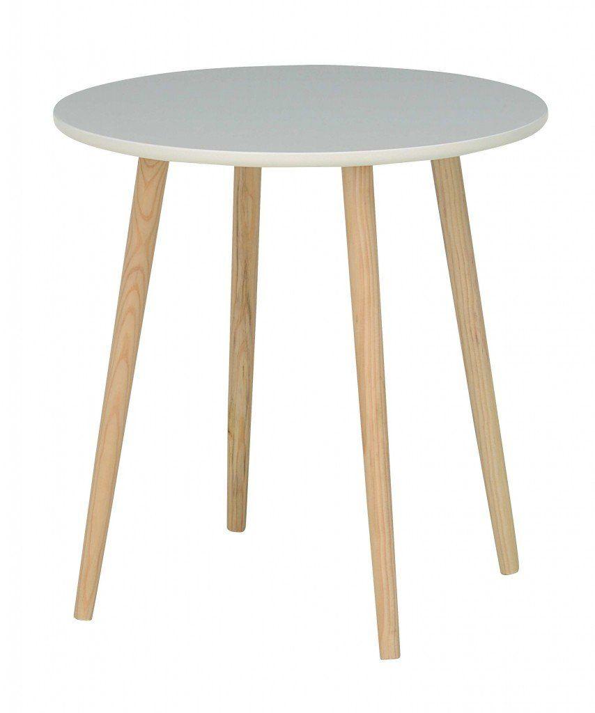 Beistelltisch KAMPEN Tisch rund 48 cm MDF lackiert, versch. Farben, Farbe:Weiss: Amazon.de: Küche & Haushalt