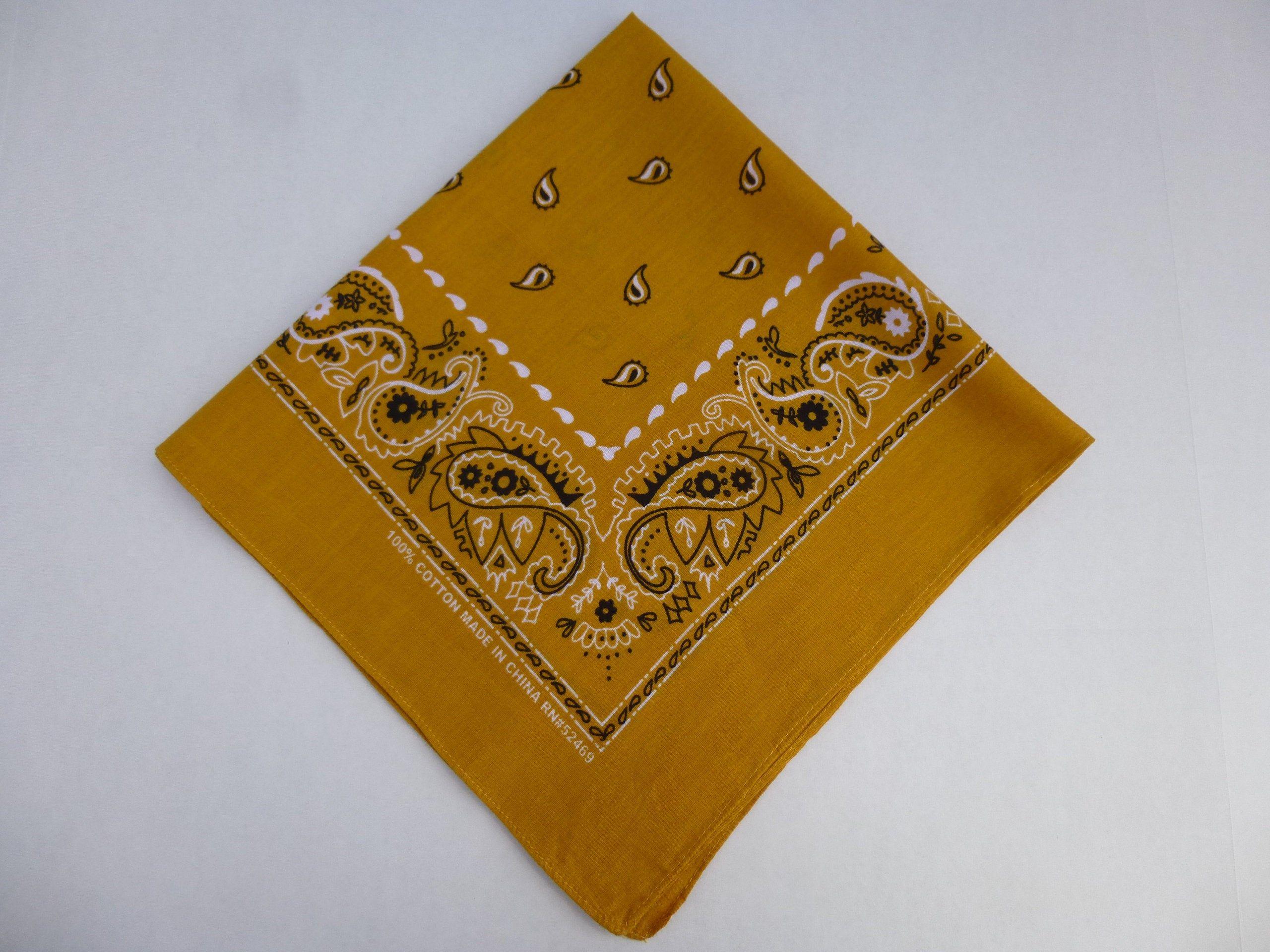 100/% Cotton Square White /& Black Paisley Patterned Bandana Neckerchief Yellow