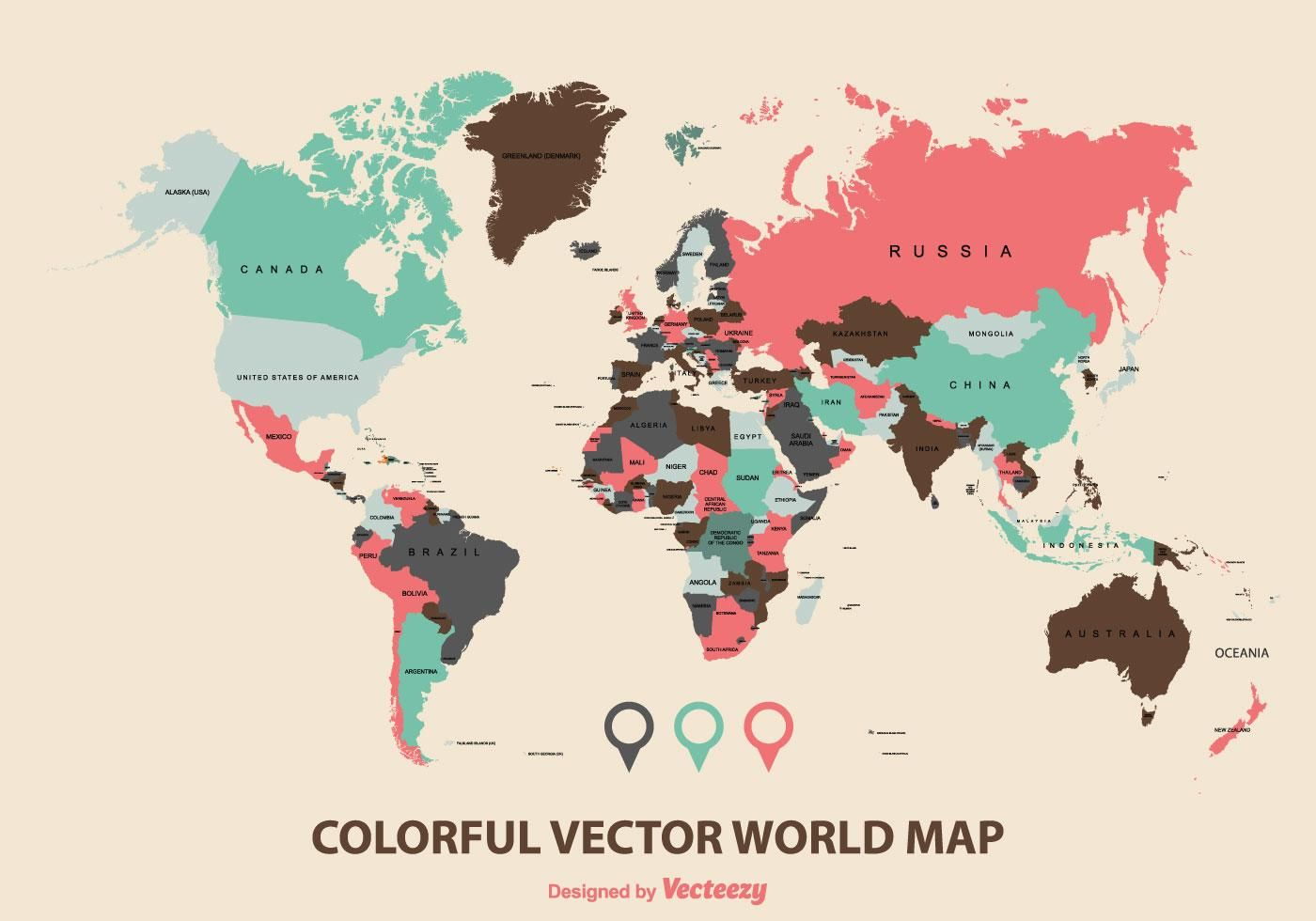 Colorful World Map Vector | World map vector free, Map ...
