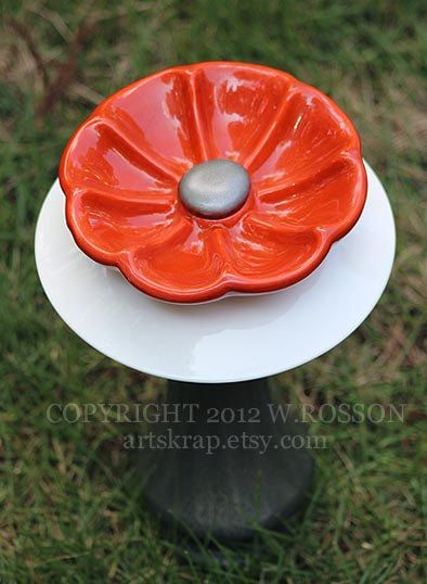 Silver and Orange Vase Recycled Glass Bird Feeder by artskrap, $30.00