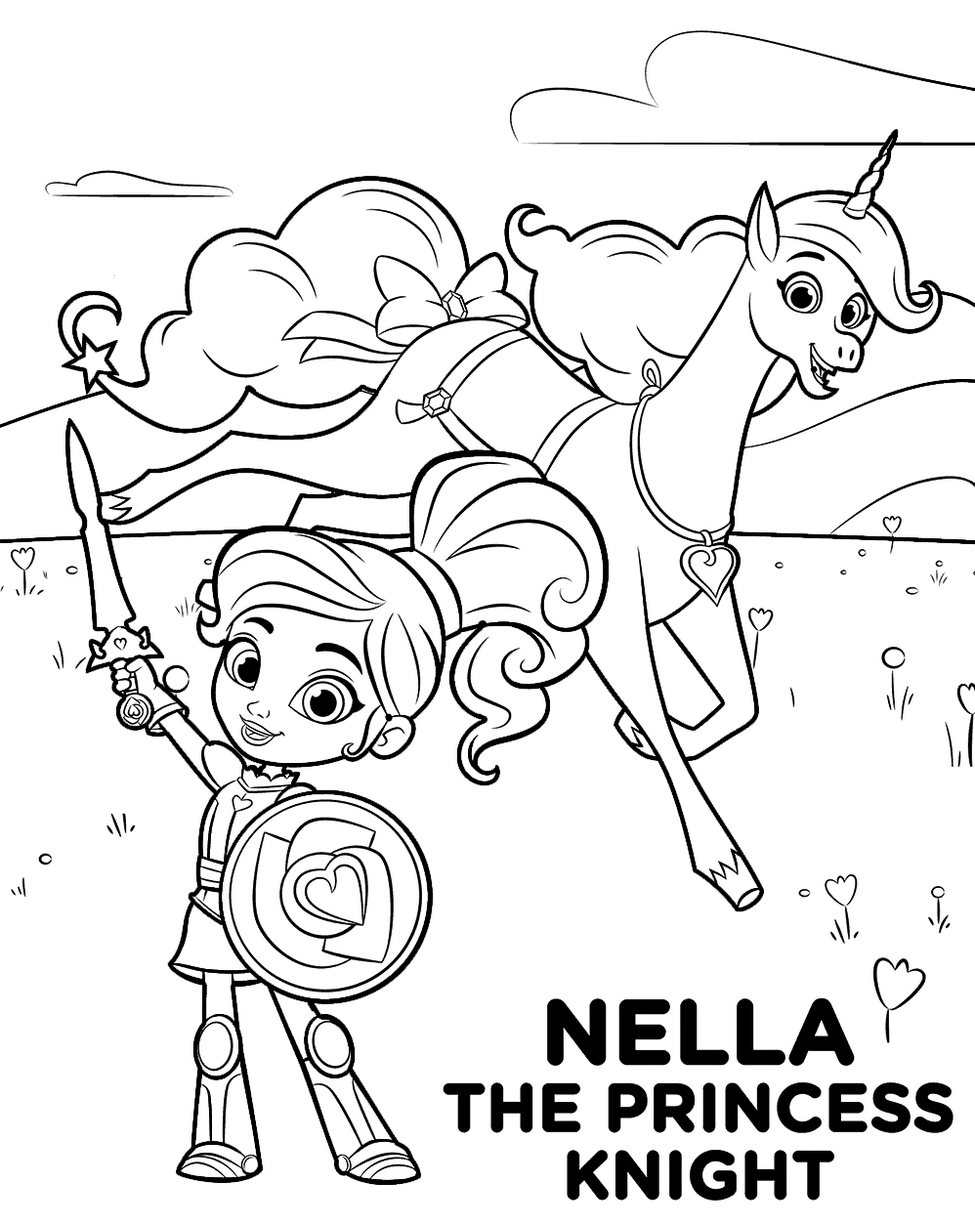 Nella The Princess Knight Coloring Pages Printable Princess Coloring Pages Nick Jr Coloring Pages Cartoon Coloring Pages