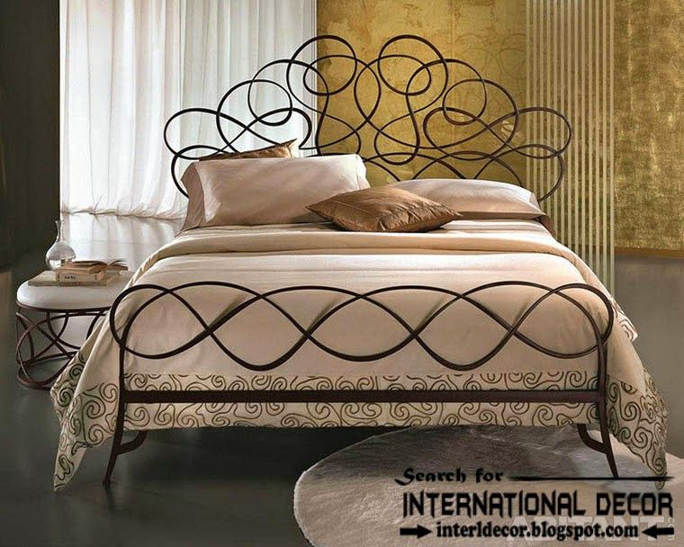 stylish italian wrought iron beds and headboards 2015, black