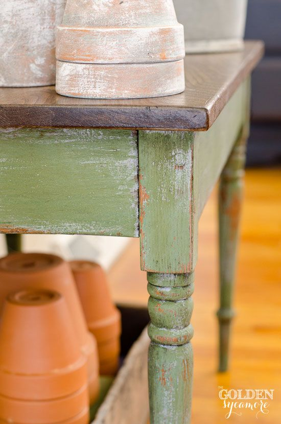 Distressed Potting Bench Table Milk Paint Colors Milk Paint Bench Table