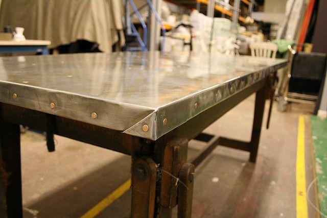 detail of zinc top table with images  zinc table zinc