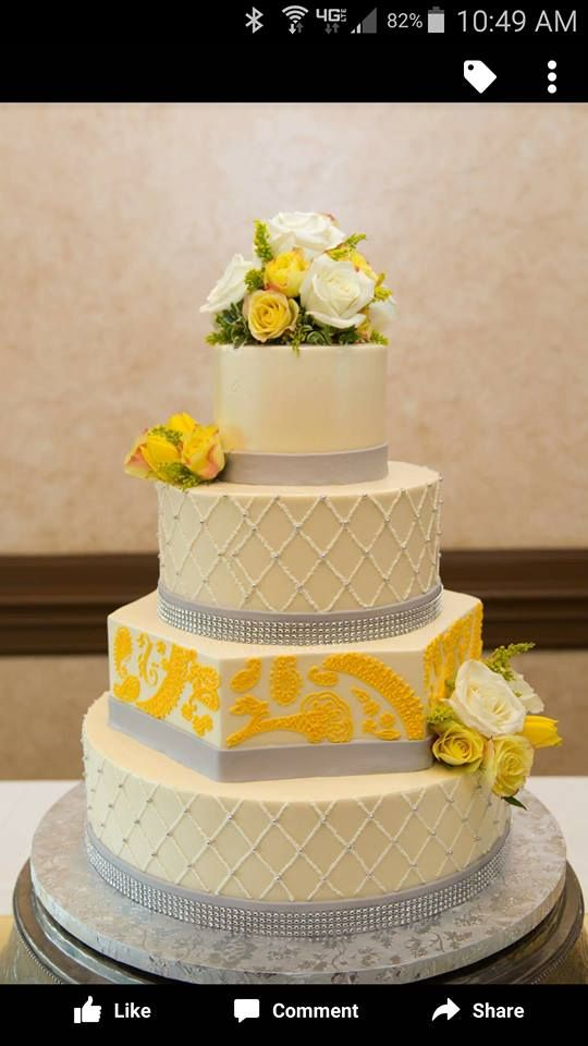 Love this cake, especially the different shaped tier. | Wedding ...