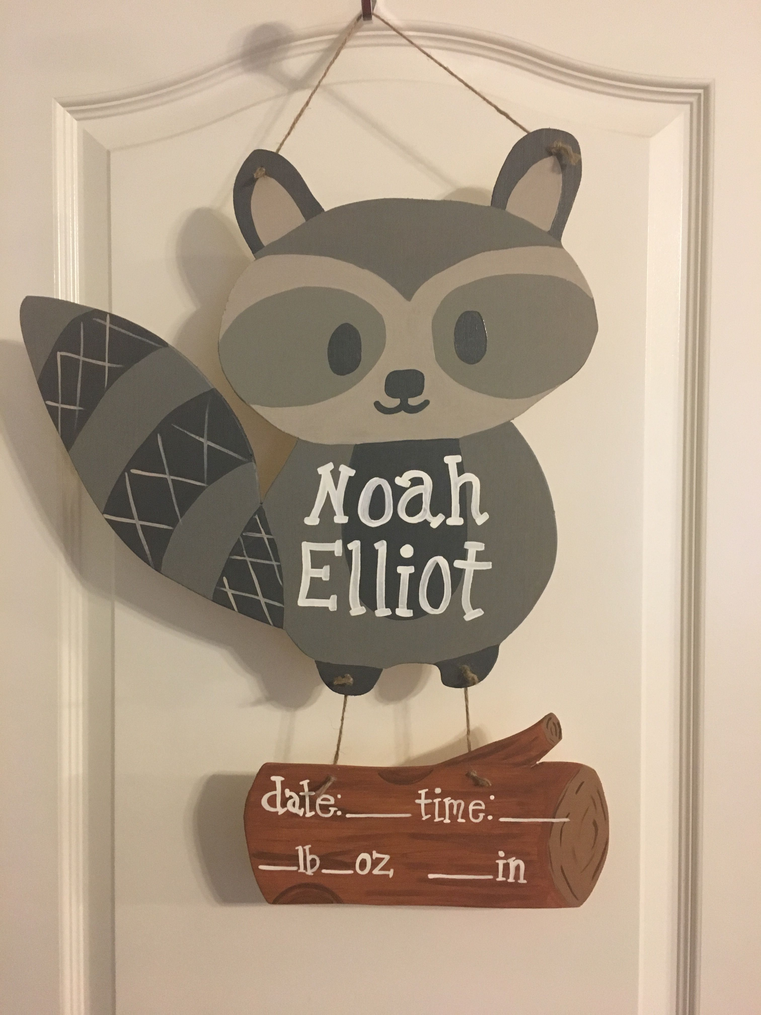 Raccoon Baby Door Hanger