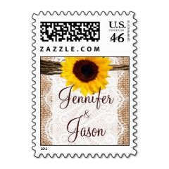 Country Wedding Stamps Sunflower Burlap Lace | Wedding Postage Stamps