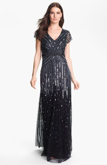 Modest dress for military ball - Adrianna Papell Sequin Mesh Gown ...