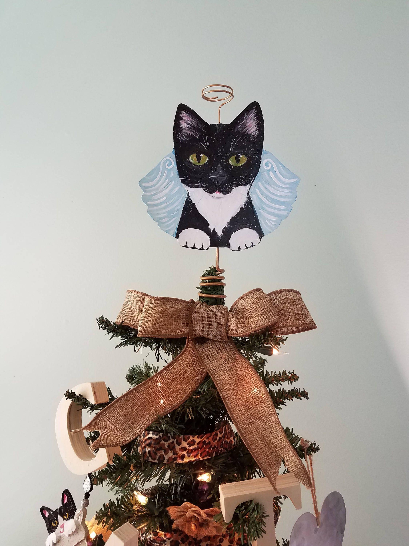 Tortoiseshell Cat Angel Tree Topper Cat Christmas Tree Etsy Christmas Cats Cat Christmas Tree Cat Christmas Decoration