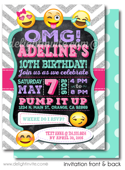 Printable Digital Emoji Birthday Party Invitations for Girls DI – Girls Birthday Party Invite