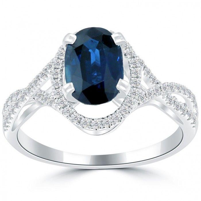 2.11 Carat Natural Blue Sapphire & White Diamond Cocktail Fashion Ring 18k Gold - Thumbnail 1
