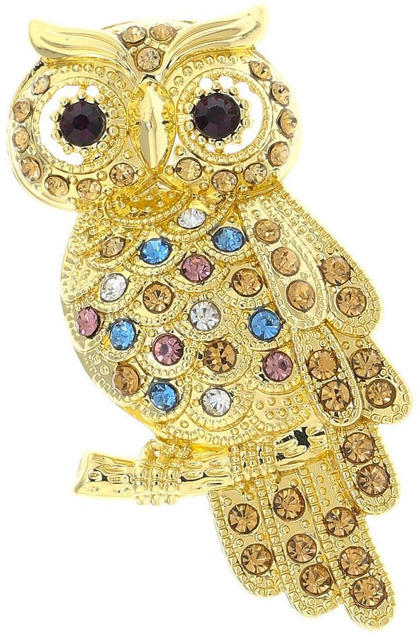 Monet Multicolor Stone Owl Pin Monet jewelry and Stone
