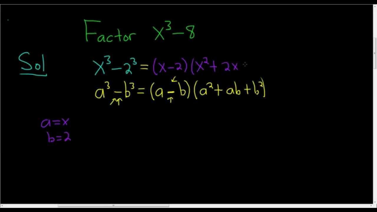 Factoring difference of cubes x3 8 math videos