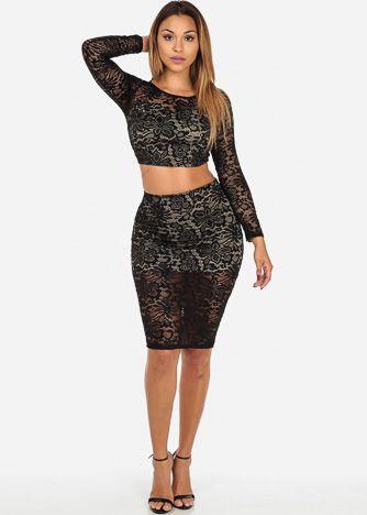 e405aae429 Black Floral Lace Crop Top & Matching Midi Skirt (SET) | Skirt Alert ...