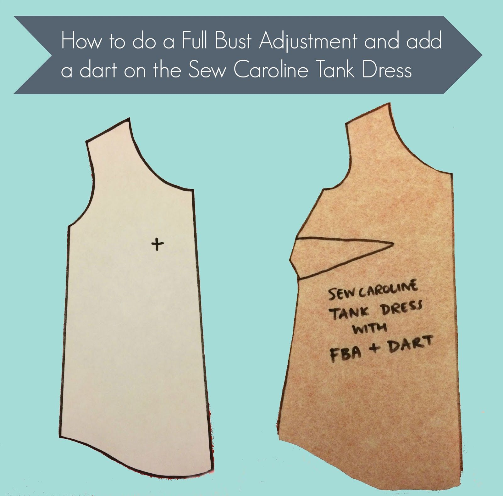 How to do a full bust adjustment and add a dart on the Sew Caroline Tank Dress or any non-darted dress or top | Cashmerette
