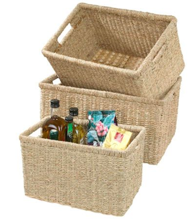 Small Seagrass Storage Basket With Integral Handles And Metal Internal  Frame For Added .