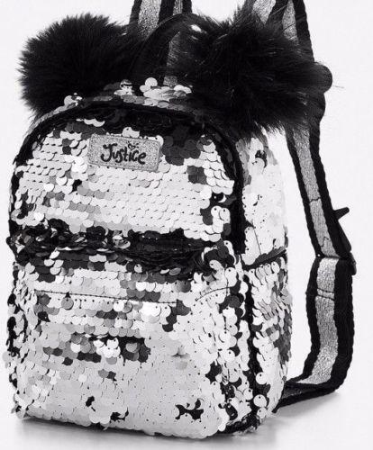 Justice Black Silver Pom Pom Mini Bling Backpack Flip